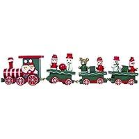 Witspace 子供用 木製 車 玩具 クリスマス 列車 ギフト クリスマスツリー デコレーション フェスティバル パーティー ホリデー スノーマン サンタ Size: 21x4.5cm マルチカラー w-kI