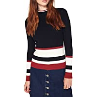 hodoyi Women Knitted Pullovers Color Block Stripes O-Neck Skinny Sweaters