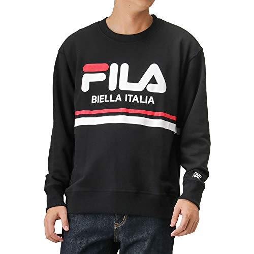 FILA(フィラ) 裏毛ラインロゴプリントトレーナー スウェット トレーナー 長袖 FH7449 メンズ ブラック:M