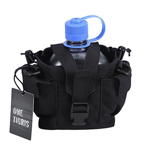 OneTigris ミリタリーキャンティーン水筒ケース ナルゲンオアシスポーチ WW2 ロシア装備 多機能 (ブラック-ショルダーベルトなし)