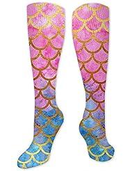 QRRIYアスレチックソックスマーメイド水彩ゴールドピンク3 D圧縮ソックス男性乗組員ロングクルーソックス男性女性男の子キッズ-ベスト医療看護旅行フライトソックス