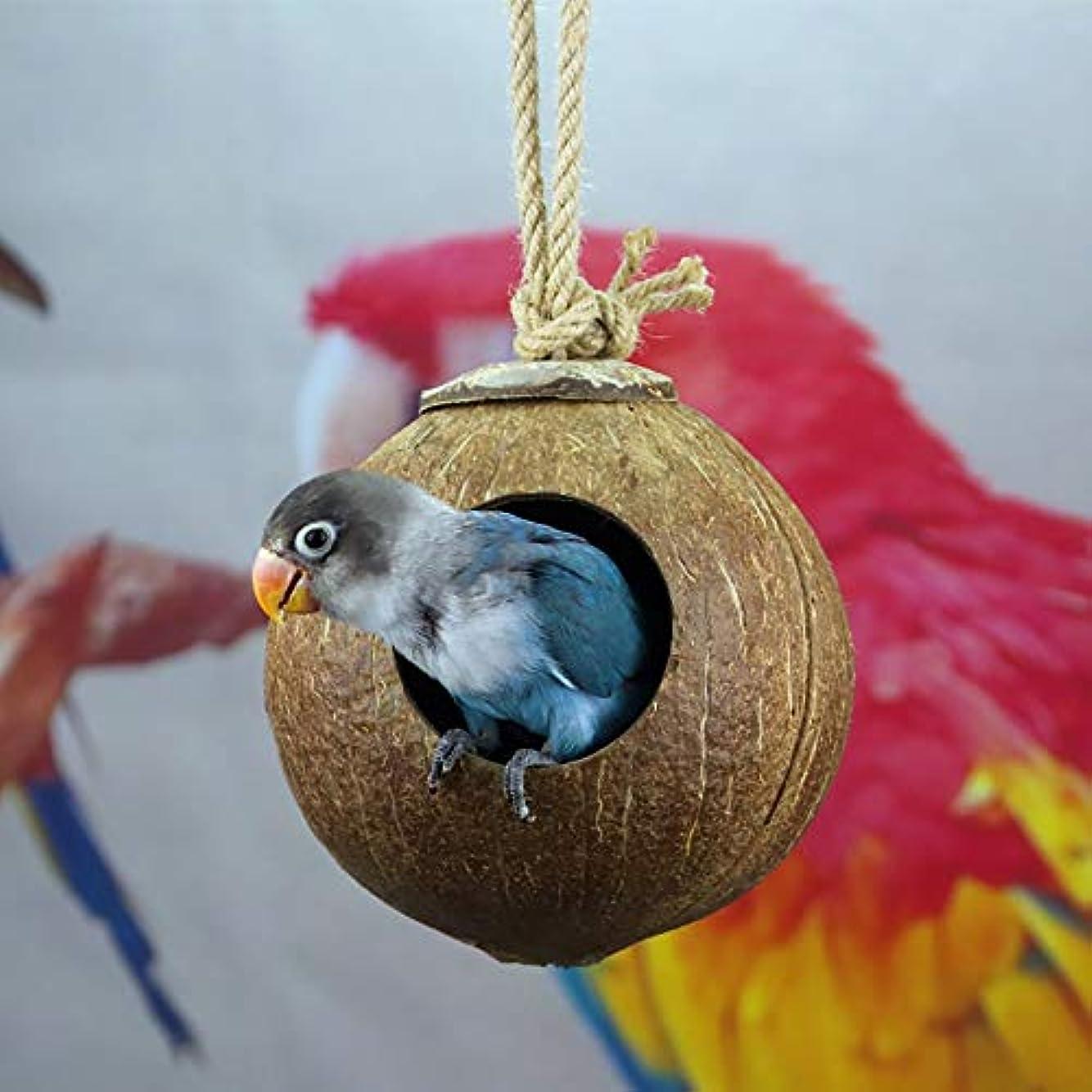 抱擁横向きアジア野鳥の巣箱 小鳥の巣箱キャビンのためのココナッツの殻鳥の巣ハウスレトロな芸術品や工芸品屋外コテージバードハウス屋外ウッドバードハウス (Color : Natural, Size : A)