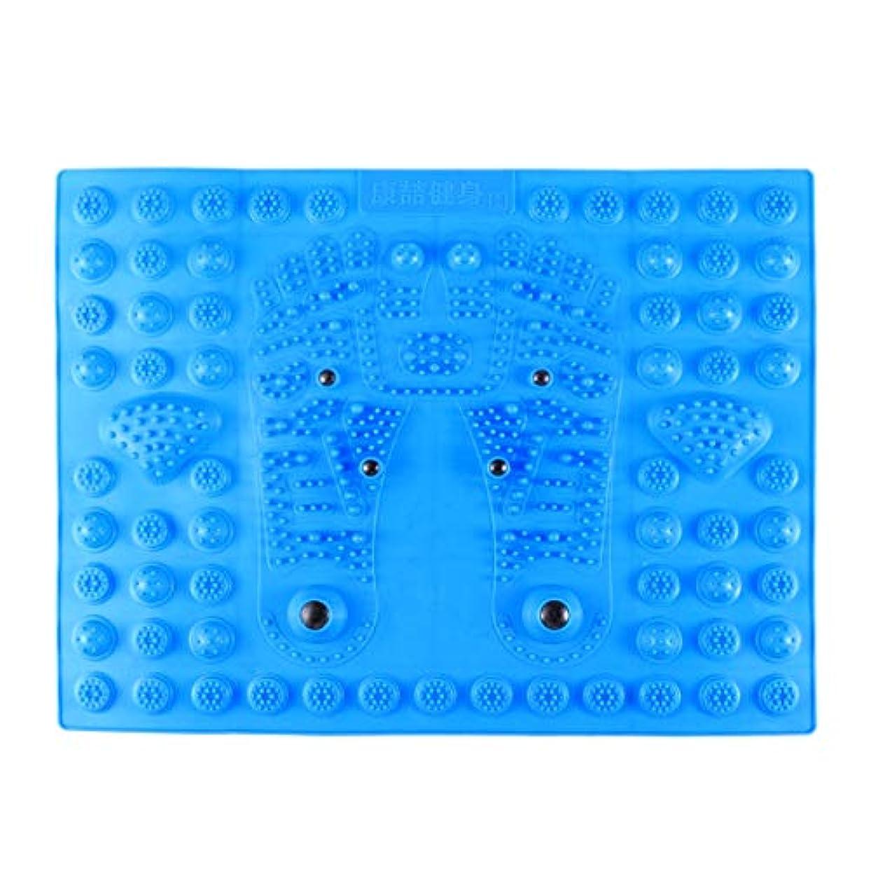 病弱キャッチ億Healifty 指圧フットマットフット磁気療法マッサージャーガーデンマッサージパッド(ブルー)