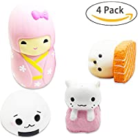 Squishies寿司、おもちゃKawaii 2シール+猫+ Little GirlセットクリームMeal Squishy香りつきDecompression Squeezeおもちゃforコレクションギフト、装飾小道具Largeまたは応力by sportsvoutdoors [ 4pack ]
