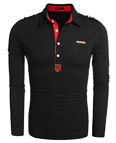 (クーファンディ)Coofandyポロシャツメンズ長袖無地薄手インナーシャツおしゃれカジュアルビジネス対比色ボタンダウン仕事通勤ゴルフ普段着大きいサイズ7色S~3XL展開