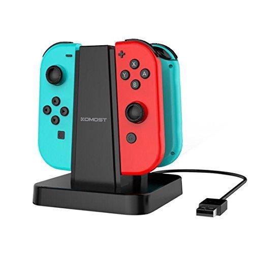 Komost Nintendo Switch Joy-Con 充電スタンド ニンテンドー スイッチ Joy-Con コントローラー充電器 任天堂 スイッチ Joy-Con グリップ 縦置き 4つ同時充電 ブラック コントローラー充電チャージャー