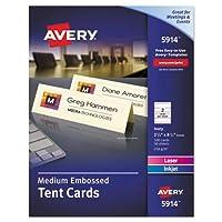 Medium Embossedテントカード、アイボリー、21/ 2x 81/ 2、2カード/シート、100/ボックス
