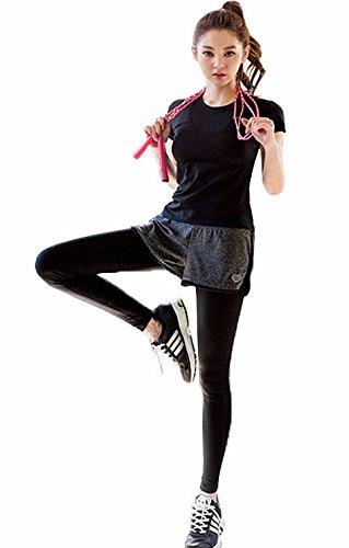 AOX BRRAEL シリーズ スポーツ トレーニング ヨガ ウェア レディース 上下 パンツ 半袖 セット アップ (L)