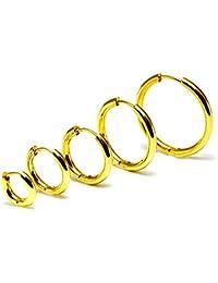 ゴールド フープ リング ピアス 18G サージカルステンレス316L 片耳 ユニセックス 1個 (7mm)