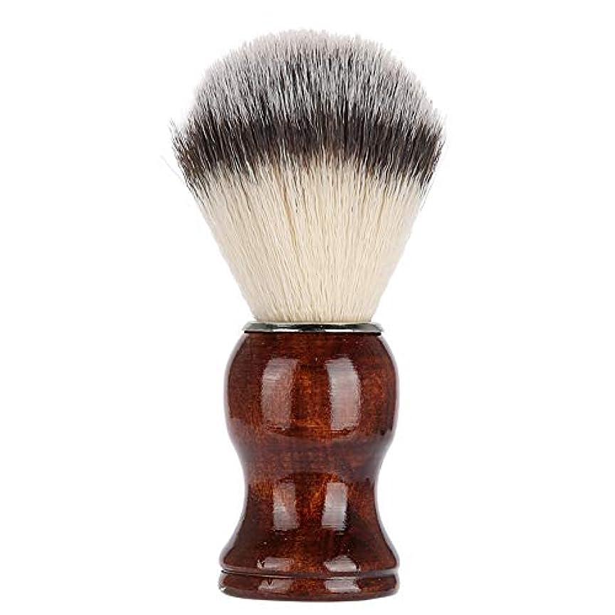 ラケットクッションテーブルひげ剃りブラシ、木製ハンドルナイロン剛毛メンズファッションシェービングクリーニングブラシ日常使用単品
