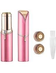 女性のための電気毛リムーバー、Raphycoolポータブル脱毛装置 - リップスティックデザイン痛みのない脱毛 - ピンク