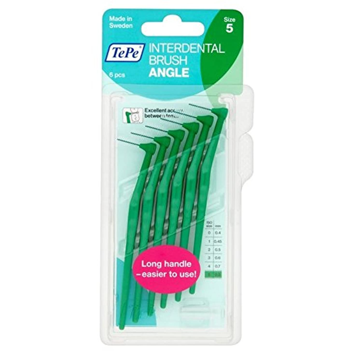 欠員用心スプリットパックあたり6 0.8ミリメートル緑テペ角度 x2 - TePe Angle Green 0.8mm 6 per pack (Pack of 2) [並行輸入品]
