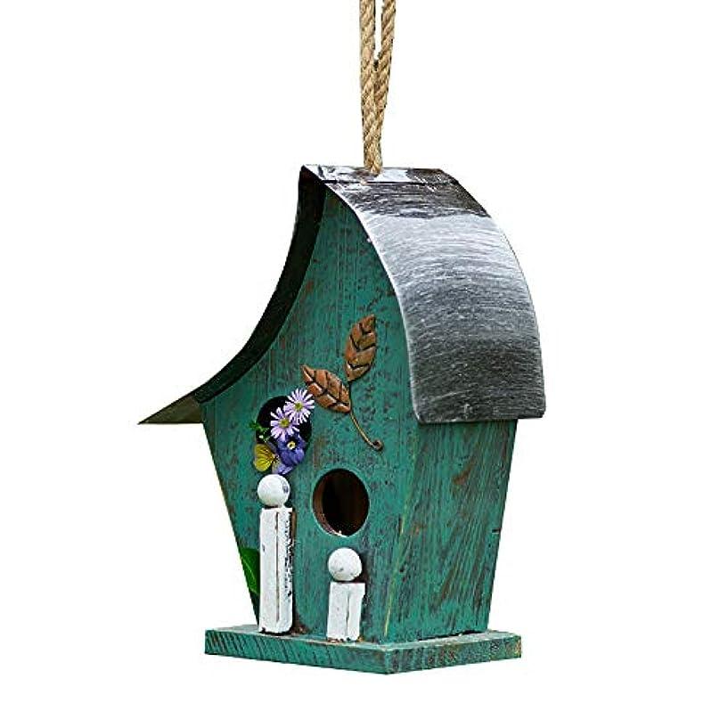 エンティティ埋め込む充電鳥の休憩所 外屋外装飾用ハンドペイント巣箱ガーデンハンギングバードハウス 庭の飾り (Color : Green, Size : 13x15x29cm)