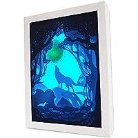 LEDライト ベッドライト テーブルランプ ナイトライト 7段階調光 室内照明 玄関 ベッドサイドランプ 常夜灯 卓上ランプ 夜間ライト 照明ランプ ライトボックス 3Dシャドウボックス 卓上スタンドライト オオカミ KM013-0【こもれび】