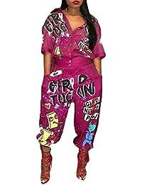 Keaac 女性ロングスリーブボタンVネック文字印刷セクシーロングジャンプスーツ