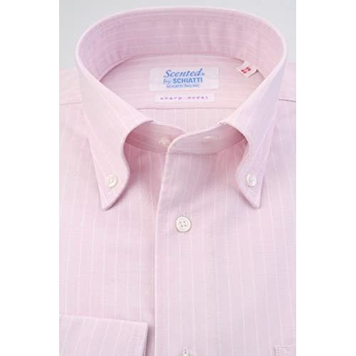 (スキャッティ) Scented オックスフォード生地 ピンク地 ペンシルストライプ ボタンダウン (細身) ドレスシャツ bd4102-3882