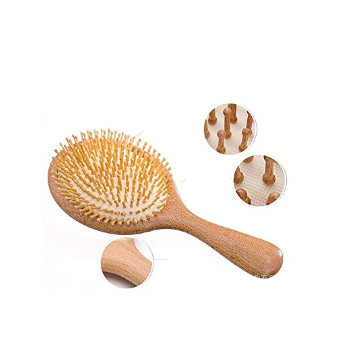 またはどちらか楽しませる壊れたFashianくしヘアブラシ静電気防止マッサージくし、すべての髪のタイプのためのブナの木のくし ヘアケア (色 : Round)