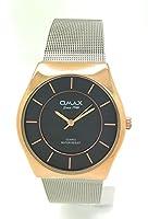 Omax男性用ラウンドエレガントなファッションメタルメッシュバンド腕時計