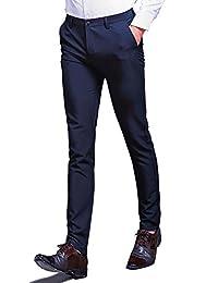 ビジネススラックス メンズ スリム 光沢 美脚 通勤 ロングパンツ ノータック ストレート 仕事着 オールシーズン
