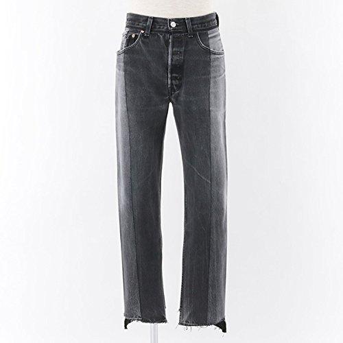 VETEMENTS ヴェトモン Levis Classic Reworked Denim Trousers カットオフ ハイウエスト デニム ジーンズ リーバイス PA3MB カラーBlack Black/ウォッシュブラック [並行輸入品]