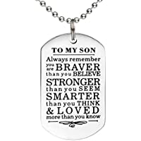 To My Son Daughter Gifts From Mom Dad Always Remember Inspirational Family Gifts Military Ball Chain Necklace Gift Graduation Birthday Christmas