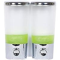 シャンプー用ディスペンサー 石鹸ディスペンサーデュオホテルバスルーム透明なクロームウォールマウント手動シャワージェルボトル圧力手洗い液体ボトル(400 * 2ml)