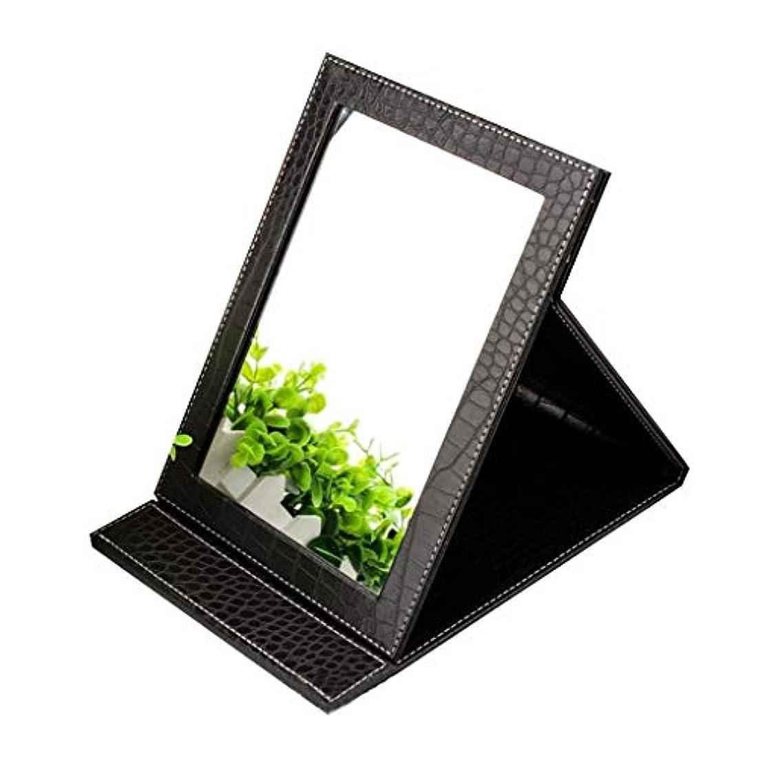 移住する擬人バランス卓上化粧鏡、 折りたたみ 卓上ミラー PUレザー付き クッションカバー のどの革を使って フレームスタンド - 長方形 化粧鏡 (Color : A Black)