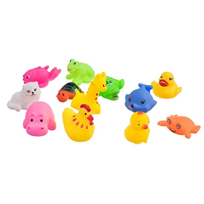 Fenteer 約12個  玩具  動物形 マルチカラー 子供 ベビー 風呂  バス 遊び  贈り物