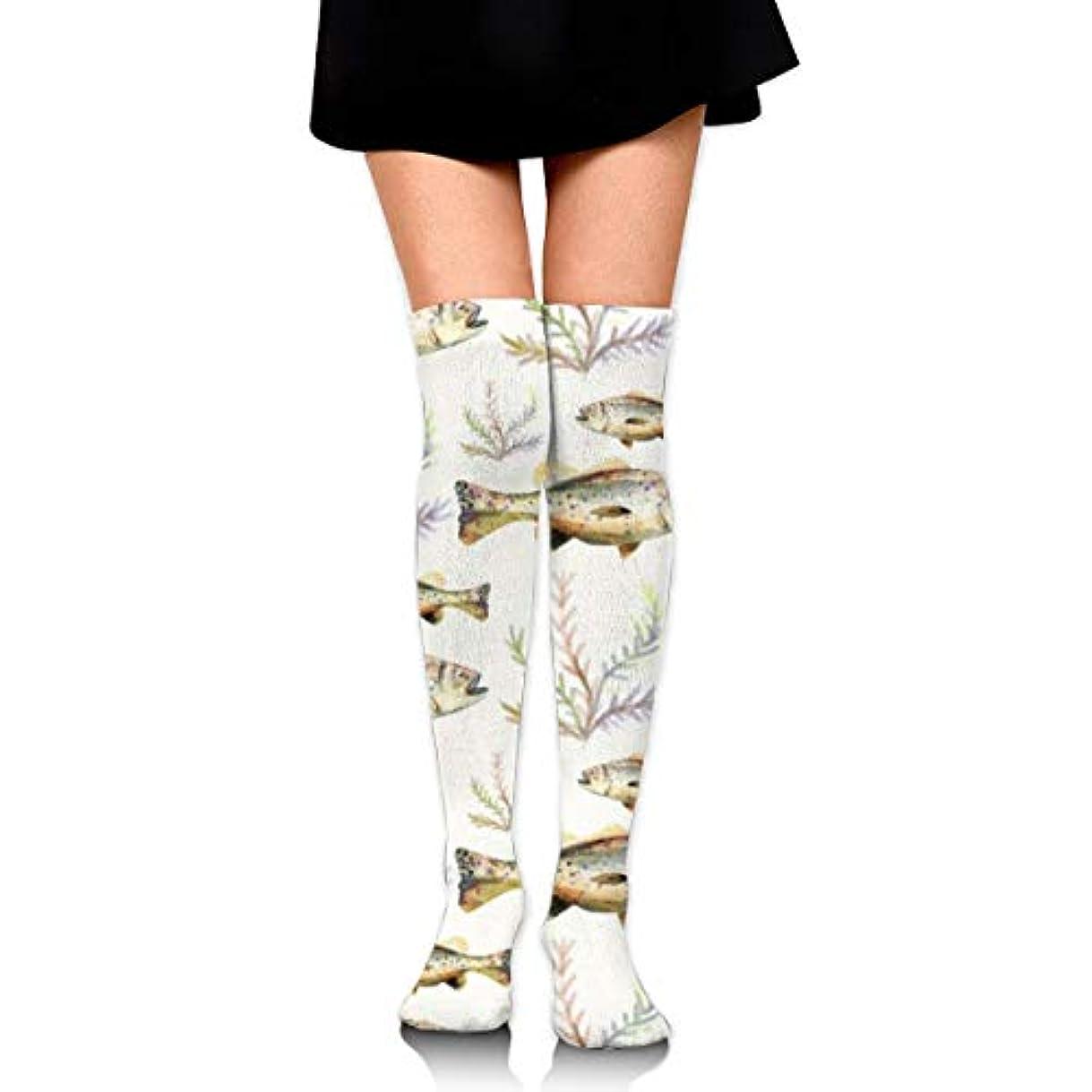 抽象化変な試すMKLOS 通気性 圧縮ソックス Breathable Classic Warmer Tube Leg Stockings Watercolor Bass Fish Seaweed Exotic Psychedelic...