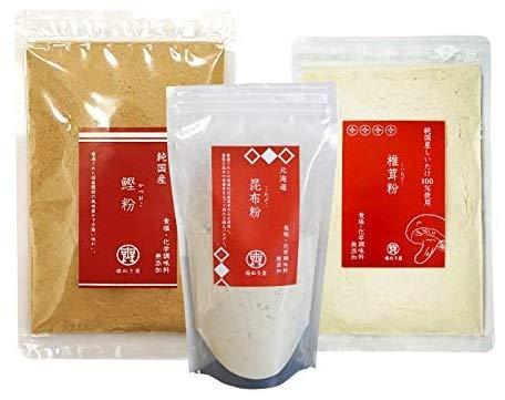 無塩 調味料 塩ぬき屋 昆布粉 100g 鰹粉 100g 椎茸粉 80g 化学調味料 無添加 3袋セット