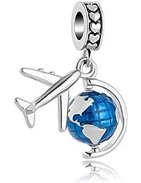 SexyMandala Spinning Globe Dangel Charm Airplane Travel Enamel Bead fit Pandora Bracelets Necklaces
