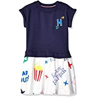 Tommy Hilfiger Girls 7185177 Adaptive Dress with Velcro® Brand Closure at Shoulders Short Sleeve Casual Dress - Blue