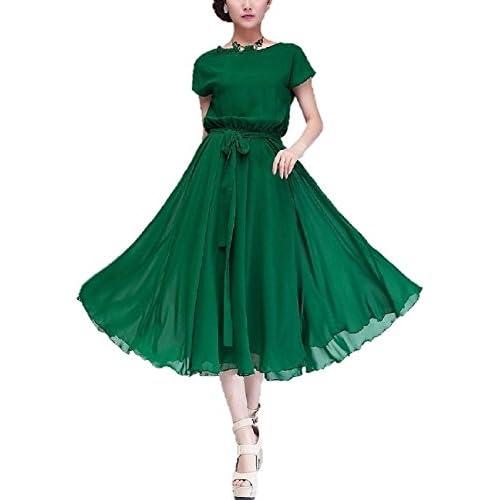 (シャンディニー) Chandeny 欧風 マキシ ワンピース ドレス レディース グリーン XL