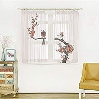幅150x丈108cm 2枚入 装飾 レースカーテン 紫外線カット 断熱効果 家の装飾、桜の木の鳥の夏の古典的なアジアの絵画スタイルイラスト印刷、黒赤