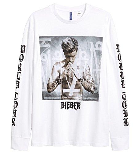 [エイチアンドエム] H&M Long-sleeved Printed T-shirt White/Justin Bieber ジャスティンビーバー Tシャツ 白 [並行輸入品] M