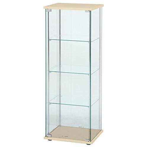 不二貿易 ガラスコレクションケース 4段ロータイプ 幅42.5・高さ120cm ナチュラル
