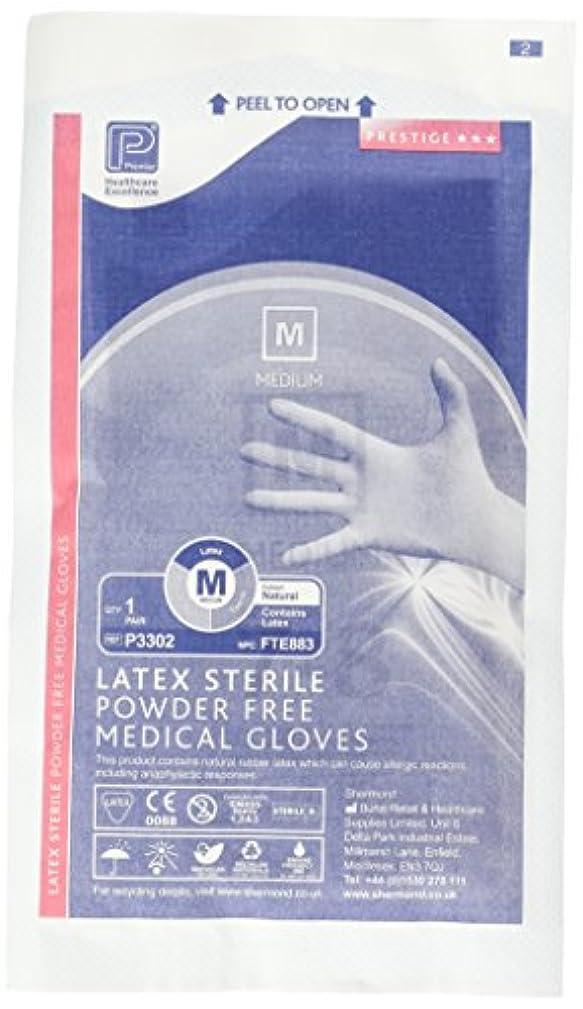 に付けるペース障害プレミアP3302滅菌パウダーフリーラテックス手袋、ミディアム(50個入り)