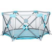 安全フェンス、子供の遊びフェンス幼児フェンス屋内ベビー幼児クロールマットフェンスホームセーフフォールディング (色 : Blue)