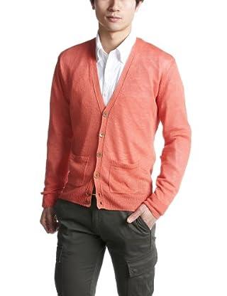 Linen V-neck Cardigan 1228-105-0235: Orange