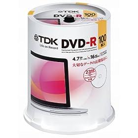 TDK データ用DVD-R 4.7GB 1-16倍速対応 ホワイトワイドプリンタブル 100枚スピンドル DR47PWC100PUE