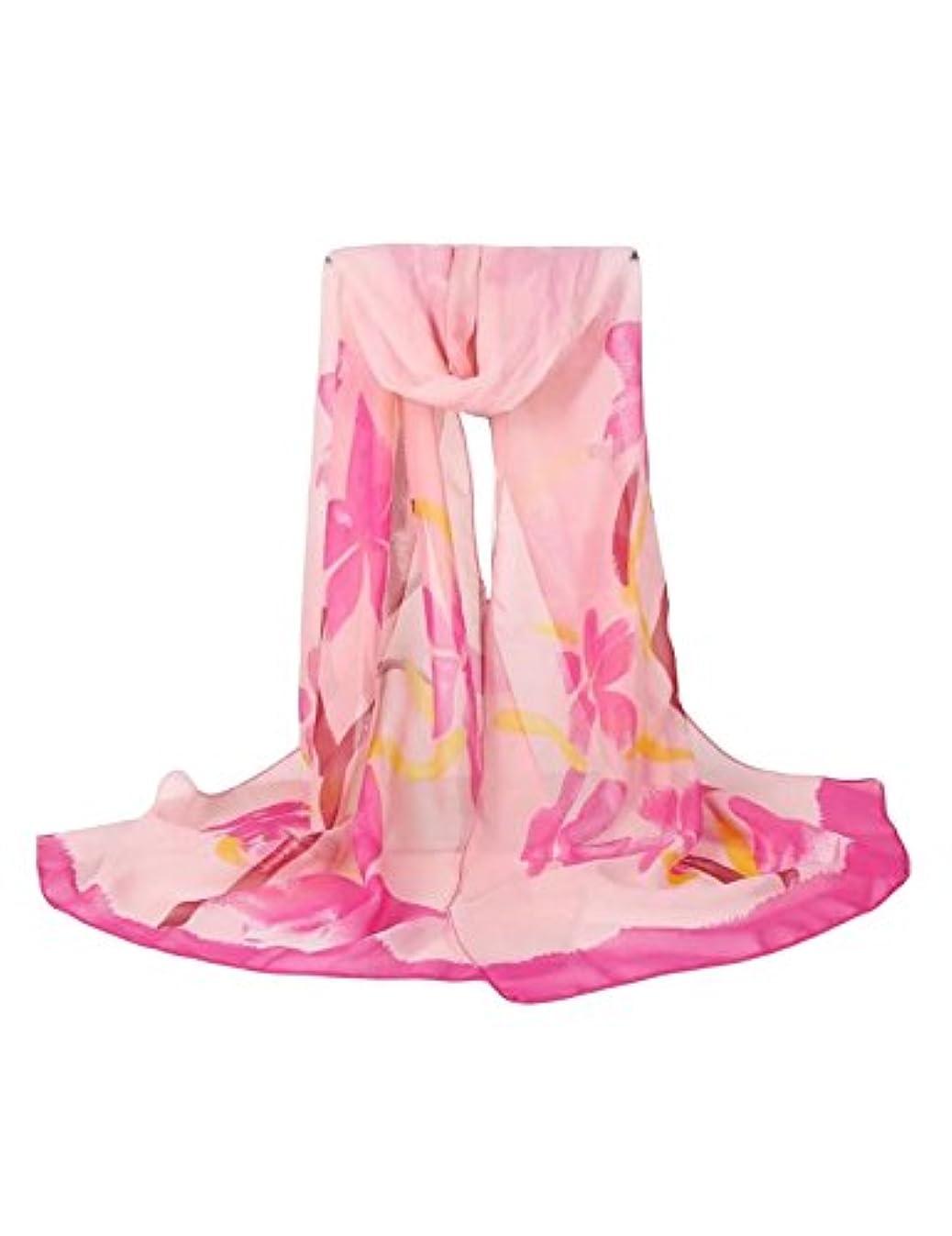 ラップ橋脚報酬のビエスディディ レディース 全6色 ファッション シフォン 薄手 UVカット 日焼け止め 花プリント ロング スカーフ