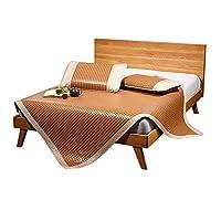 AGLZWY 夏デュアルユースパッド スムースエアコンマット 折りたたみ寝床 枕カバー付き 植物繊維 両面折り 通気性 清凉感 なめらか 学生 寮 ダブルベッド 、ブラウン、2サイズ (Color : A, Size : 1.5X2m)