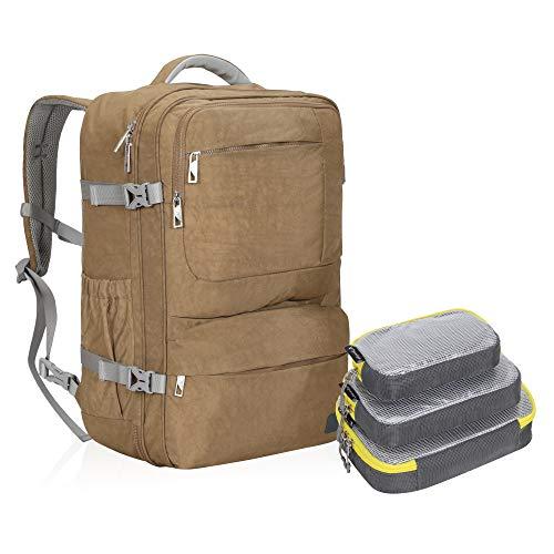 [ハインズ・イーグル] Hynes Eagle リュックサック バックパック 旅行バッグ トラベル収納ポーチ 機内持込可能 小物 収納ケース アウトドア 大容量 出張 メンズ レディース 4点セット 44L (カーキセット)