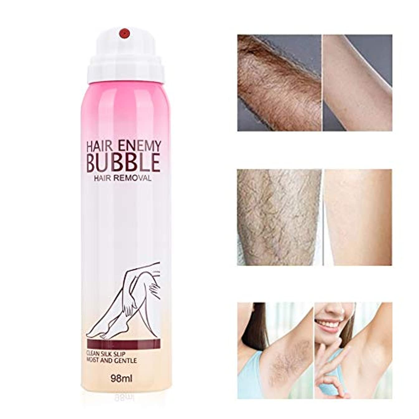 リレー無心集まる泡毛除去クリーム、ナチュラル痛みのない肌にやさしいソフトと長続きがする女性のためのヘアリムーバースプレー穏やかな脱毛スプレーフォームクリーム98ミリリットル