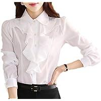 (YAMSSY) シホンブラウス レディース フォーマル シャツ 長袖 おしゃれ 2色展開(黒、白)