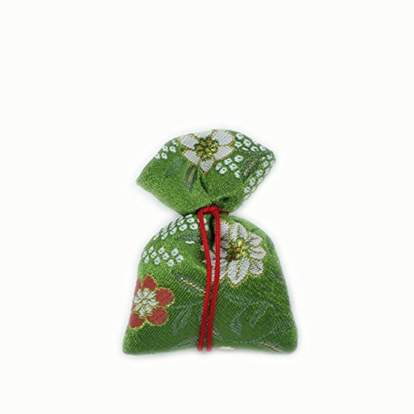 容量祈り予想する匂袋 巾着 金襴中 緑系