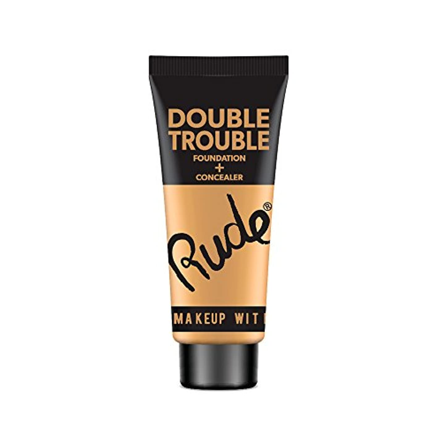 スリップ対フレア(3 Pack) RUDE Double Trouble Foundation + Concealer - Natural (並行輸入品)