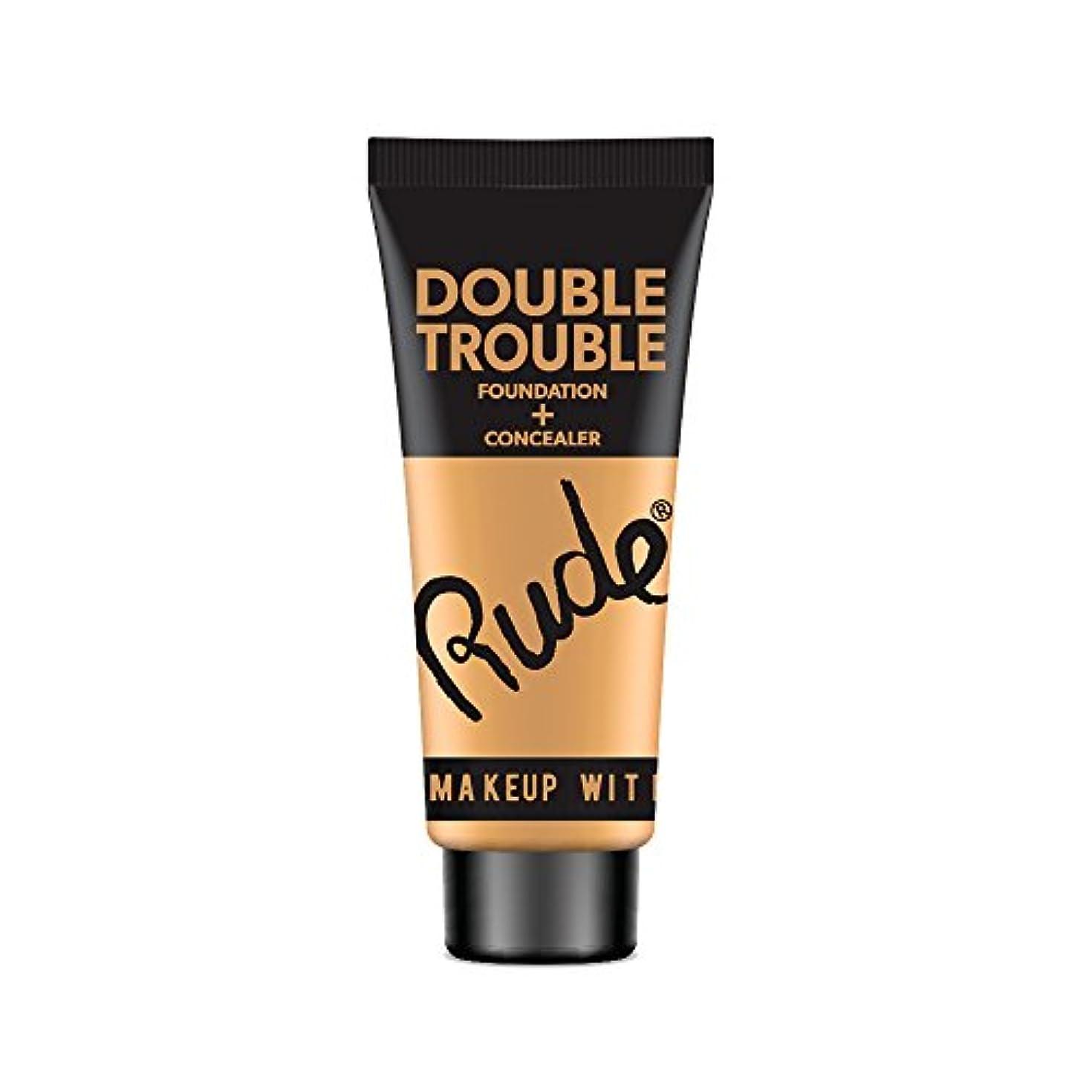 しみほのめかすこする(6 Pack) RUDE Double Trouble Foundation + Concealer - Natural (並行輸入品)