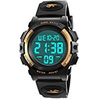 Boys Watch Age 5-12 years, WIKI Popular Cool Fun New Toys Multi Automatic Calendar Watch for Kids Casual Stopwatch Watch Luminous Watch Hot Christmas new Gifts for 5-12 Year Old Boys xmas Yel WKUSSB03