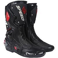 レーシングブーツ バイク用ブーツ メンズオートバイ靴 プロテクトスポーツブーツ バイク用靴 ライディングシューズ (27-27.5cm)44サイズ ブラック